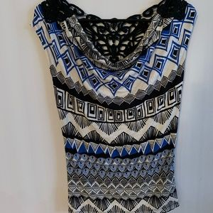 Patterned Cowl Neck Top